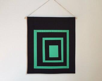Wall Quilt | Modern Textile Art | Navy and Green | Fiber Art | Wall Decor | Housewarming Gift | Modern Home | Minimalist Art | Gift for Him