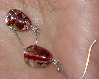 Vintage pierced earrings Murano glass teardrops, sterling silver simple jewelry beautiful red multi color glass