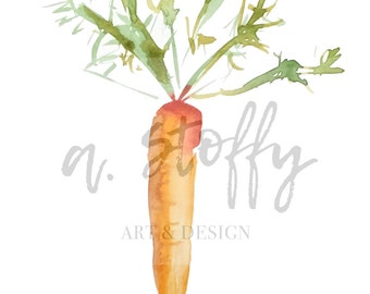 Carrot watercolor painting giclee print, kitchen vegetable art print
