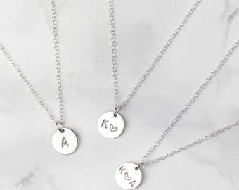 Sterling Silver Initial Disc Necklace, Custom Initial Necklace, Letter Necklace, Personalized Jewelry, Initial Pendant, Personalised Pendant