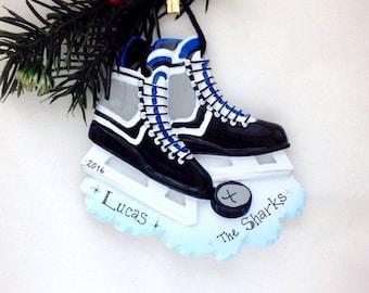 Black Ice Hockey Skates Personalized Christmas Ornament / Ice Hockey Ornament / Custom Name or Message