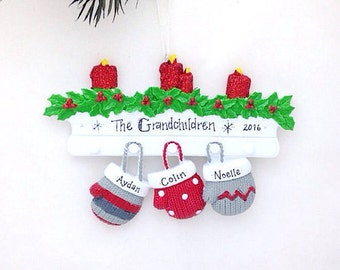 FREE SHIPPING 3 Family Mittens Ornament / Personalized Christmas Ornament / Family of Three Mittens on Mantel / Christmas Ornament