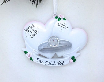 FREE SHIPPING Engagement Ring with Hearts Personalized Christmas Ornament // She Said Yes! // Engagement Ornament // Personalized Ornament
