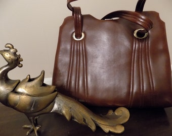 Fab Retro Vintage Brown Faux Leather Purse with Clutch Interior Gold Tone Accents