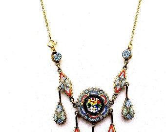 Victorian Micro Mosaic Fringe Necklace, Antique Micro Mosaic Dangle Necklace