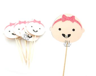 12 Cute Girl Baby Face Cupcake Toppers -  baby cupcake toppers, baby shower cupcake toppers, baby girl cupcake toppers, baby shower decor