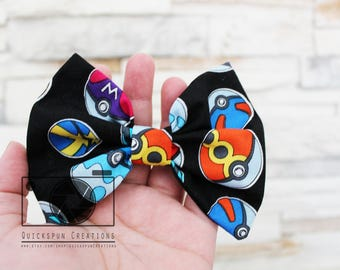 Pokeball Alligator Clip Hair bow, Women's accessories, Fabric Hairbow, barrette