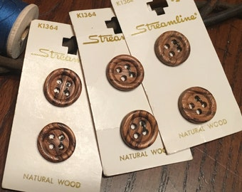 Vintage Button Vintage Carded Wooden Buttons by Streamline three cards six buttons