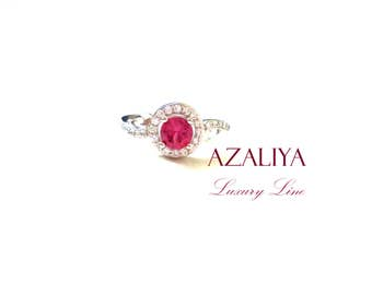 Princess Ring Mini-Zircon Pink 925 Sterling Silver. Zirconia Ring. Engagement Ring. Ring with Stone. Crystal CZ Ring. Pink Ring. Ring Gift.
