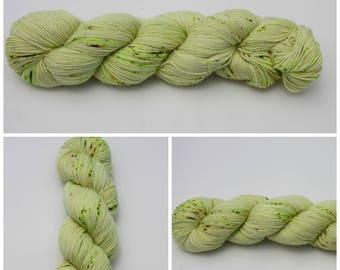 Twist Sock - Hand dyed yarn {Sour Apple} Yellow Green with green speckled yarn, sock yarn, hand dyed sock yarn