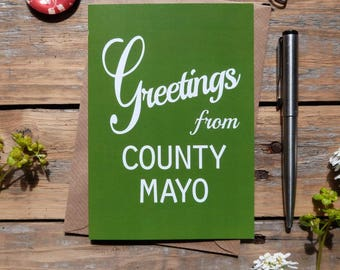 Mayo .. Greetings from County Mayo card, Irish cards, Éire, Irish made greeting cards