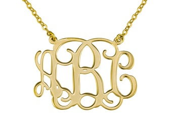 "Gold Monogram Necklace. 1"" Personalized initials monogram necklace - Sterling silver 925 Plated with 18k gold"