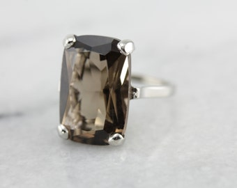 Smoky Quartz Statement Ring in White Gold HE5J52-D