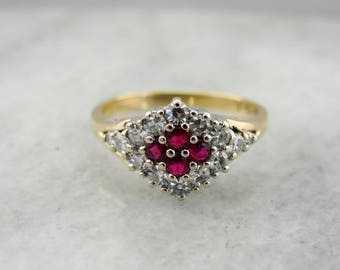 Vintage Ruby and Diamond Cluster Ring M730YD-P