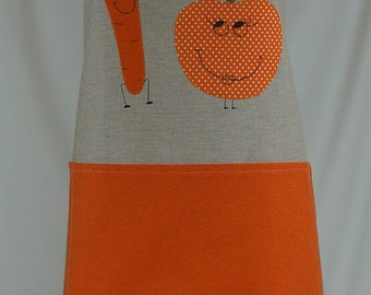 Apron handmade, gift for her, carrot and pumpkin lovers appliqué
