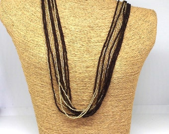 Statement necklace,chocolate brown and gold necklace,fall necklace,bridesmaid gift,multistrand,beaded necklace,long necklace,dark brown,gift