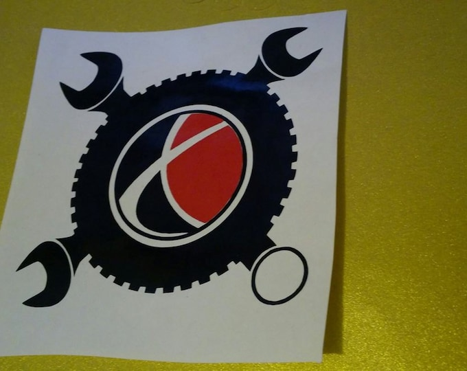Saturn Wrenches Tire Gear Head Saturn Militia Movement Two Color Black and Red Vinyl Decal