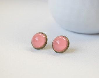 Earrings cabochons-sleepers - Pink Salmon - 24
