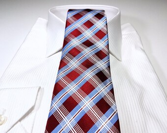 Silk Tie in Plaid Checks with Apple Red Cornflower Blue and White