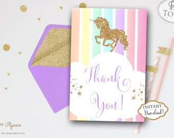 INSTANT DOWNLOAD - Glitter Unicorn Thank You Cards - Pastel Rainbow Unicorn Thank you Note - Glitter Rainbow Unicorn Thank You card 0449