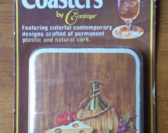 Vintage Beverage Coasters Conimar Set of 6 Wine Cheese Design New Old Stock