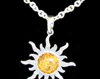 Baltic Amber Sun Necklace, Sun Pendant, Amber Pendant Necklace, Baltic Amber Pendant, Silver Amber Sun Necklace, Sterling Silver Sun Pendant