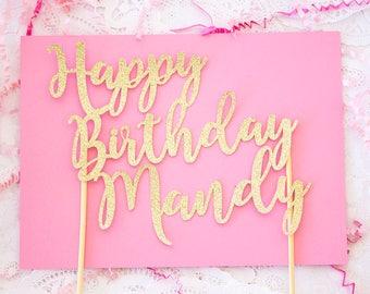 Birthday Cake Topper, Custom Cake Topper, Glitter Cake Topper, Name Cake Topper, Gold Cake Topper, Personalized Topper, Birthday Topper