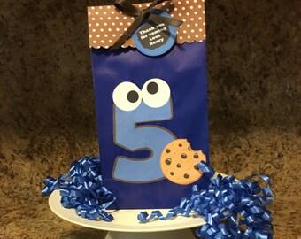 Set of 12 Cookie Monster Favor Bags, I Love Cookies Favor Bags