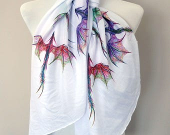 Dragon scarf. White scarf with colourful Dragon print. Boho scarves.