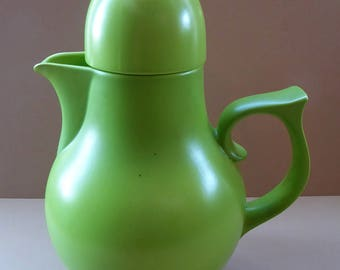 EXTREMELY RARE 1960s Lime Green Ceramic Carlton Ware Coffee Pot: Satin Glaze. Pattern 2966
