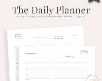 2017 Daily Planner Printable, July-Dec 2017 | Planner Inserts, Daily Agenda, Academic Diary, Appointment Planner, Goal Planner, She Plans