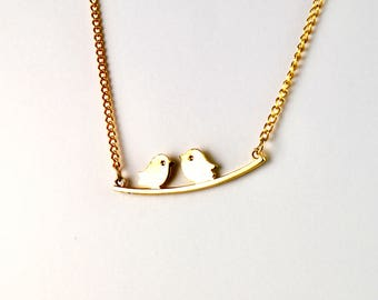 Vintage Necklace Gold Plated Necklace Love Birds Necklace 1960s
