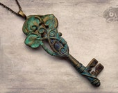 Art Nouveau styled fantasy pendant // Hand-painted brass, copper wire & antique iron key // Elven Woodland Fairyland Necklace Jewellery gift