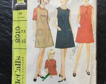 Vintage 1960s Misses' Dress or Jumper and Blouse Pattern // McCall's 8919, size 14 > A-line