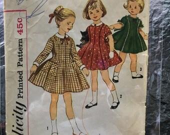 Vintage 1960s Child's One-Piece Dress Pattern // Simplicity 3567, Size 5, full skirt, princess dress