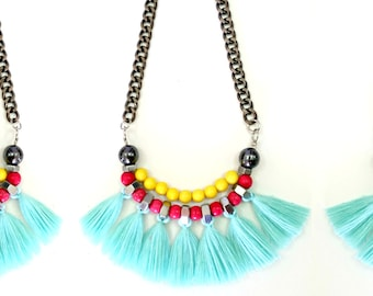 Tribal fringe necklace, multi color necklace, turquoise tribal necklace, colorful fringe necklace, turquoise yellow necklace.