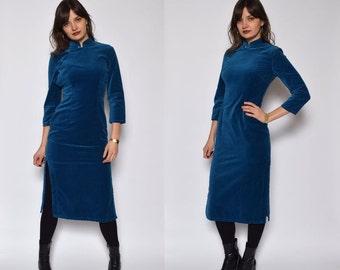 Vintage 80's Turquoise Velvet Midi Dress / Chinese Style Velvet Dress / Side Slit Velvet Dress / Long Sleeve Turquoise Dress - Size Small/S