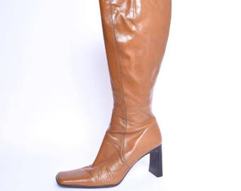 Vintage 90's Brown Real Leather Boots / Brown Genuine Leather Tall Boots