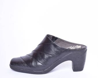 Vintage 90's Black Leather Mules /  Chunky Black Leather High Heel Sandal Clogs with Rubber Soles