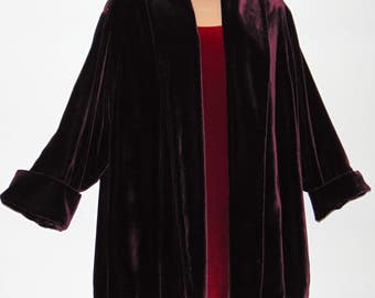Laura Ashley Vintage Claret Silk Velvet Open Style Opera Occasion Blazer Cape, Size Small