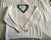 Vintage 90s Eddie Bauer cotton cable knit V neck sweater Men's L Seinfeld