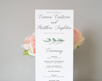 Greenery Wedding Program, Eucalyptus Wedding Program, Calligraphy Program, Weddings, Simple, Greenery Wedding