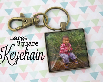 Personalized Photo Keyring - Custom Photo Keychain - Photo Key Chain - Square Antique Bronze Keychain - Picture Keychain - 35 mm Square