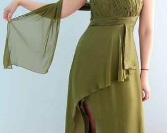 Ethereal Long Chiffon One Shoulder Bridesmaid, Wedding, Bridal, Honeymoon,Prom Dress or Evening Gown