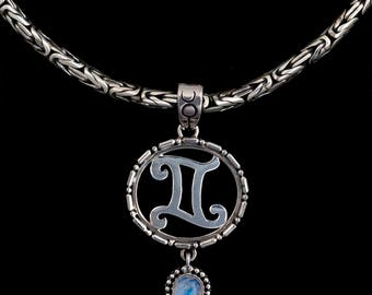 Sterling Silver Gemini Necklace, Sterling Silver Zodiac Necklace, Sterling Silver Gemini Pendant, Gemini Jewelry, Zodiac Jewelry, : GEMINI