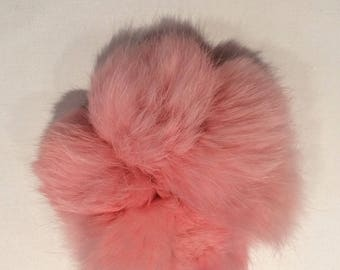 Recycled Fur Scrunchie - Bubble Gum Pink Rabbit Real Fur Scrunchie Pom Pom Hair Tie