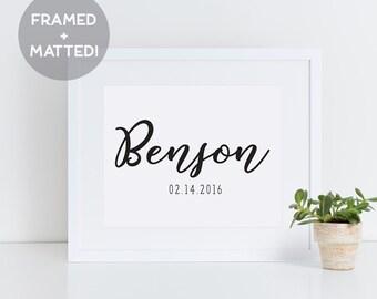 Framed Custom Name Print, Wedding Gift, Anniversary Gift, Framed Print, Framed Art, Gift for Couple, Gift for Parents, Last Name