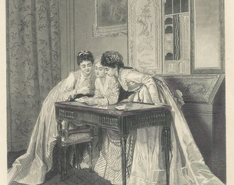 "1888 Steel Engraving ""The Invitation"" 7x10"