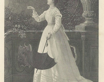 "1888 Steel Engraving ""The Fond Adieu"" 7x10"