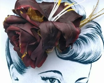 Glitz and Glamour Pin Up Hair Flower Vintage Autumn